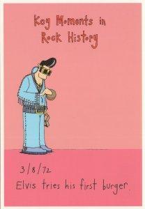 Elvis Presley Eating His First Burger Comic Rare Postcard