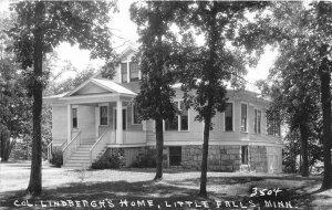 G52/ Little Falls Minnesota RPPC Postcard c30s Col. Lindbergh's Home