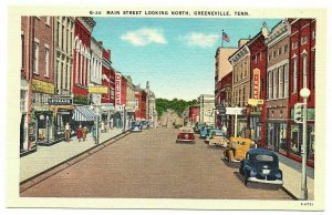 Greeneville Tennessee Postcard Street View Main Street Store Fronts Disney#75908
