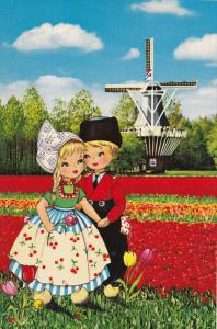 Dutch Children Holding Hands in Tulip Field by Windmill, Holland, Bloemenland...