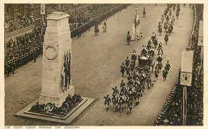 British royalty funeral processio carriage horses british soldiers CENOTAPH