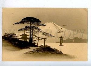 184859 JAPAN Mount ART NOUVEAU Vintage postcard hand painted