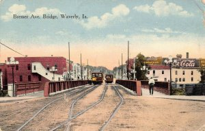 LPS78 WAVERLY Iowa Bremer Ave. Bridge Town View Postcard