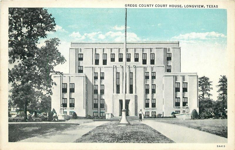 Longview Texas~Gregg County Court House~1938 Postcard