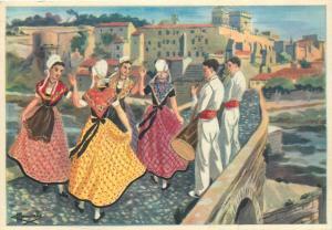Provence folk types France la ronde du pont d`Avignon postcard