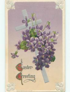 Pre-Linen easter religious JOHN WINSCH - JESUS CROSS WITH PURPLE FLOWERS J2212