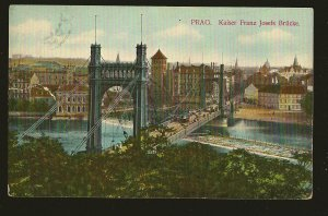 Austria Postmarked 1909 Prag Kaiser Josefs Bridge Color Postcard