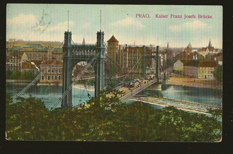 Austria Postmarked 1909 Prag Kaiser Josefs Bridge Color Postcard