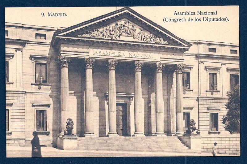 National Assemby Hall Madrid Spain unused c1920's