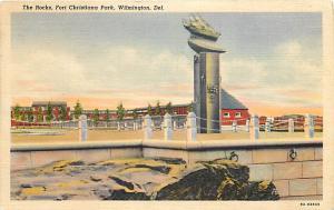 The Rocks, Fort Christiana Park Wilmington Delaware DE 1940 Linen