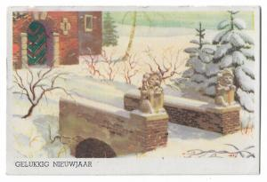 Happy New Year Vintage Dutch Postcard 01.13
