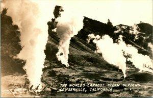 Vtg Postcard RPPC Geyserville California CA World's Largest Steam Geysers UNP