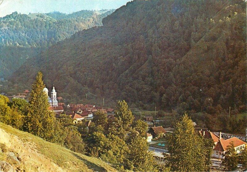 Postcard Romania Sugag judet alba valea sebesului peisaj montan padure biserica