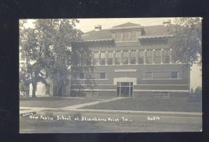 RPPC STRAWBERRY POINT IOWA PUBLIC SCHOOL BUILDING OLD REAL PHOTO POSTCARD