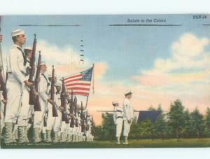 Linen Patriotic USA NAVY SAILORS HOLDING FLAG AC0914