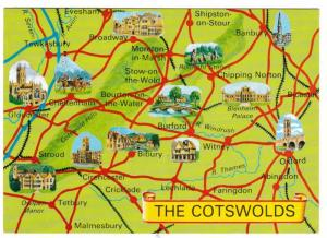 Postcard Pictorial Map The Cotswolds