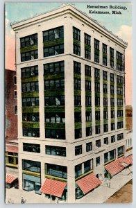 Kalamazoo Michigan~Hanselman Building~Shops Below~People on Sidewalk~c1910