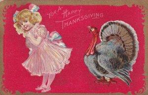 THANKSGIVING, PU-1913; Girl & Wild Turkey