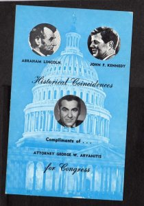 MA Attorney General George W. Arvanitis For Congress Political Advertising Card