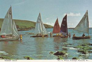 Sailing Boats at Wembury Waters Beach Devon Postcard