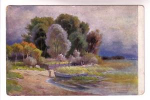 Signed, Boat at Lake Shore, 753