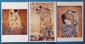 Stunning Set of 3 NEW Gustav Klimt Art Nouveau Art Paintings Postcards 90M