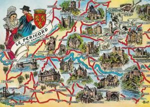 Le Perigord Map Castle Heraldry Dancing Fashion French Maps Plage Postcard