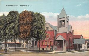 Waverly New York~Baptist Church~Sign @ Front Door~Bell Tower~c1910 Pc