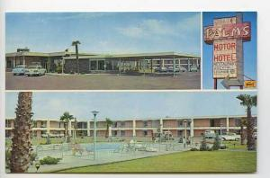 Las Cruces NM Palms Motor Hotel Motel Hwys. 70-80 Old Cars Postcard