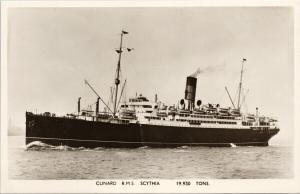 Cunard RMS Scythia Steamship Ship Boat Unused Real Photo Postcard F10
