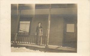 Vintage Real Photo Postcard~Victorian Lady On Porch~Snow~1912 RPPC