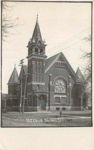 RPPC M.E. Church Sheldon, Iowa 1908 Vintage Real Photo Postcard