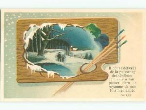 foreign 1912 Postcard ARTIST PALETTE WITH PAINTBRUSHES AC3759