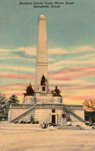 Illinois Springfield Oak Ridge Cemetery Lincoln Tomb Winter Scene Curteich