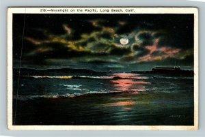 Long Beach CA-California, Moonlight On The Pacific, Vintage Postcard