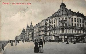 Belgium Ostende Vue Generale de la Digue Promenade Postcard