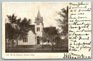 Stuart Iowa~Methodist Episcopal~ME Church~1907 B&W Postcard