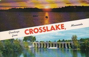 Minnesota Greetings From Crosslake Showing Dam and Sunset