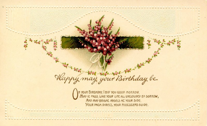Greeting - Birthday. Embossed, Gold Foil