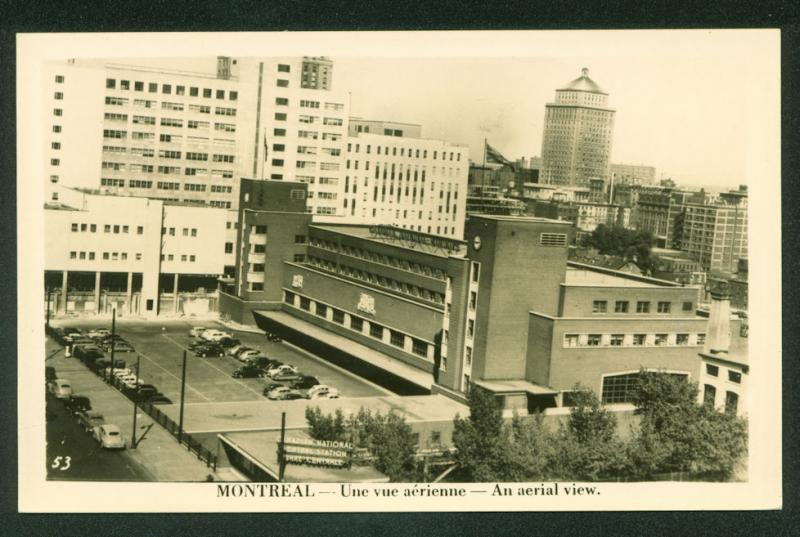 AERIAL VIEW Downtown Montreal Canada Real Photo Scene Postcard RPPC