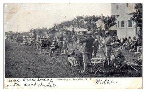 1907 US Soldiers Shooting Krag-Jorgensen Rifles, Sea Girt, NJ Postcard *5Q(2)12