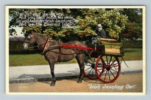 UK-United Kingdom, Irish Jaunting Car, Horse, Vintage c1912 Postcard