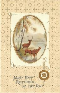 Big Buck Deer w/ Does at Lake~Parchment Vignette~Gold Leaf Emboss~Meissner Buch
