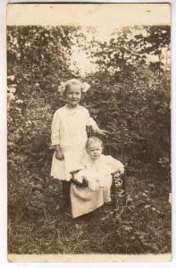 RPPC, Two Little Girls, One in a Little Chair