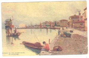 Man Fishing, Corner Of The Grand Canal At Mazzorbo, Venice, Italy, 1900-1910s