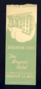 Brockton, Massachusetts/Mass/MA Matchcover, The Bryant Hotel