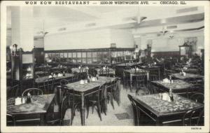 Chicago IL Won Kow Chinese Restaurant c1940s Postcard