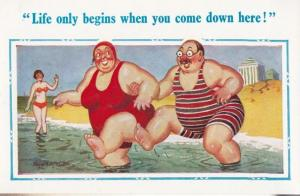 Gigantic Fat Man & Woman Come Down Here Double Meaning Sea Comic Humour Postcard