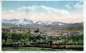 Bird's Eye View of Livingston, Montana from Stone Quarry, 1918