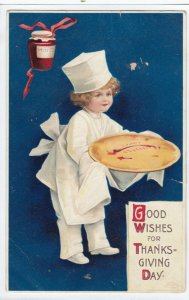 CLAPSADDLE, 1900-10s; Good Wishes for Thanksgiving Day, Child Chef bringing out